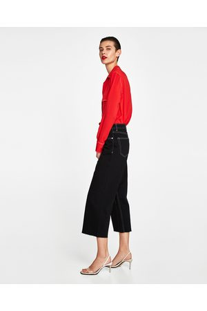 Zara JEANS HIGH WAIST CULOTTE MIDNIGHT BLACK