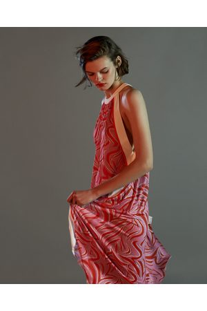 Zara PRINTED HALTER NECK DRESS