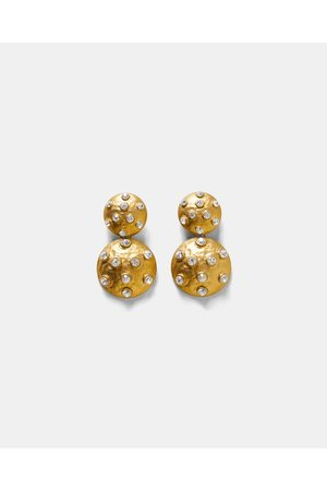 Zara BEJEWELLED METALLIC EARRINGS