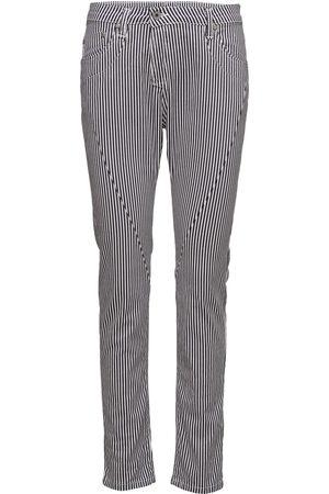 Please Kvinna Straight - Fine Stripe Raka Jeans Vit