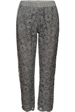 Coster Copenhagen Kvinna Dressade byxor - Pants W. Lace And Leopard Stribe Byxa Med Raka Ben Grå