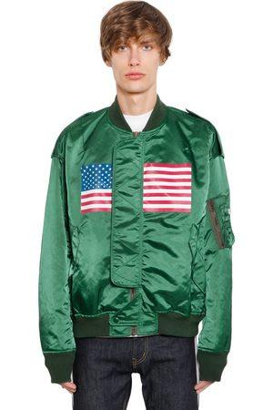 FACETASM Man Bomberjackor - Us Flag Printed Satin Bomber Jacket