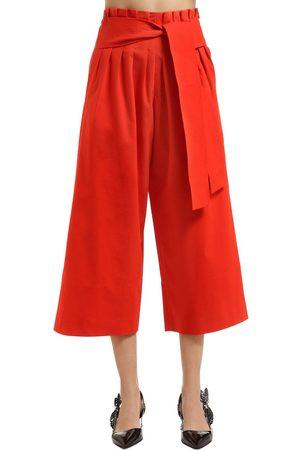 REJINA PYO Kvinna Utsvängda byxor - Wide Legged Belted Cotton Pants