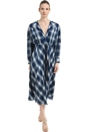 JONATHAN SIMKHAI Western Washed Cotton Plaid Midi Dress