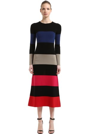 Sonia by Sonia Rykiel Kvinna Stickade klänningar - Striped Stretch Wool Blend Knit Dress