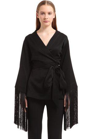Ellery Kvinna Kimonos - Fringed Crepe Kimono Top
