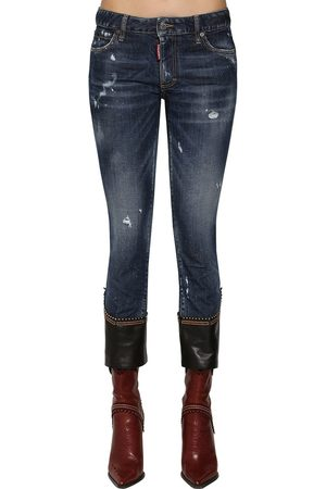 Dsquared2 Skinny Crop Denim Jeans W/ Leather Hem