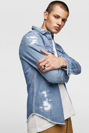 Zara Skjortjacka av denim med revor