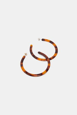 Zara TORTOISESHELL-EFFECT HOOP EARRINGS