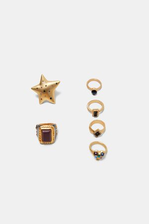 Zara SET OF BEJEWLLED STAR RINGS