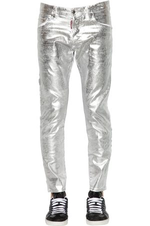Dsquared2 16cm Skater Metallic Waxed Denim Jeans