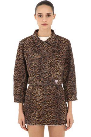 Guess Kvinna Jeansjackor - Leo Print Cotton Denim Jacket