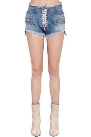 UNRAVEL Kvinna Shorts - Lace-up Cotton Denim Shorts