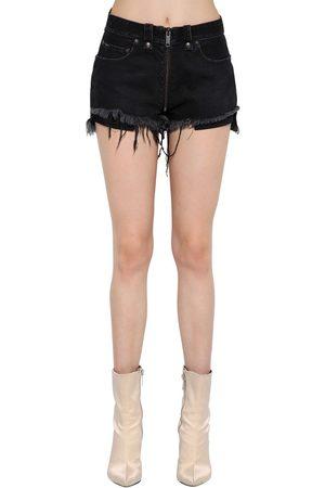 UNRAVEL Stretch Cotton Denim Shorts W/ Full Zip