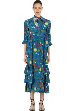 Borgo De Nor Kvinna Mönstrade klänningar - Surreal Garden Print Silk Crepe Dress