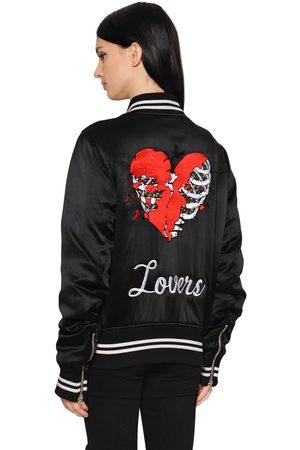 AMIRI Lovers Embroidered Satin Bomber Jacket
