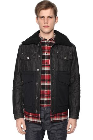 Dsquared2 Denim & Nylon Down Jacket W/ Shearling