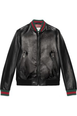 Gucci Man Skinnjackor - Leather jacket with Web