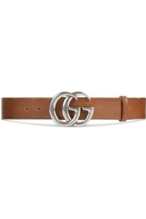 Gucci Man Bälten - Leather belt with Double G buckle
