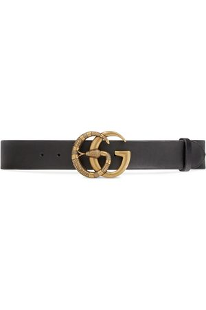 Gucci Kvinna Bälten - Leather belt with Double G buckle with snake