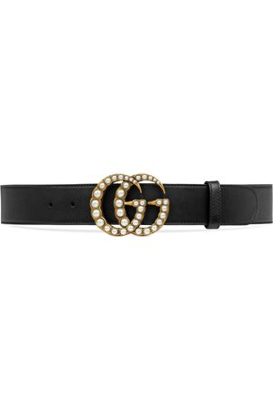 Gucci Kvinna Bälten - Leather belt with pearl Double G