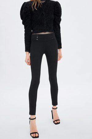 Zara Kvinna Leggings & Treggings - Leggings med medelhög midja och knappar