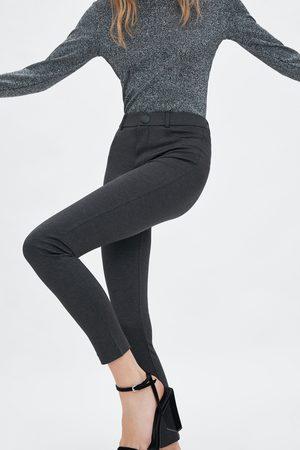 Zara Leggings med hög midja med knapp