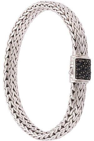 John Hardy Klassiskt platt kedjearmband i silver med safir och hake