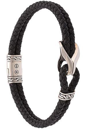 John Hardy Man Armband - Station klassiskt vävt armband i läder med silverdetalj