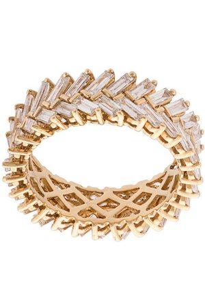 Anita 18kt yellow gold diamond baguette double row ring