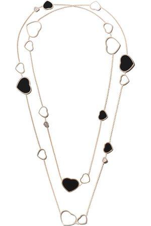 Chopard Halsband i 18K roséguld med Happy Hearts hängsmycke i onyx och diamant