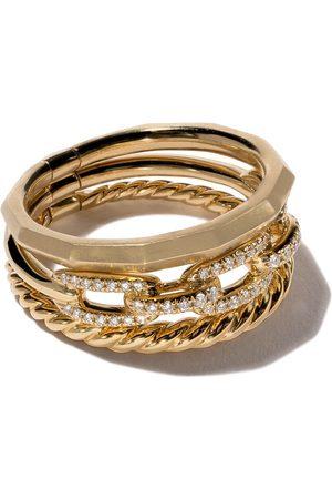 David Yurman Stax smal diamantring i 18K gult guld