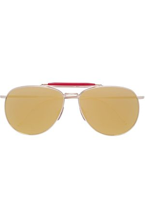 Thom Browne Gold Aviators With Mirrored Lens