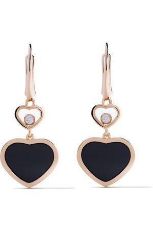 Chopard Happy Hearts örhängen i 18K roséguld med onyx och diamant