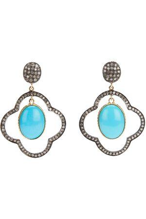 Gems N' Crafts Turquoise diamond drop earrings