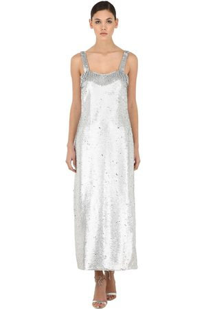 VIVETTA Sequined Maxi Dress W/ Fringes