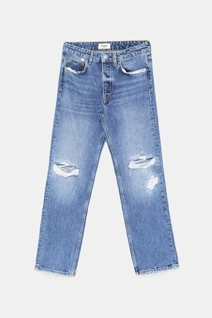 Zara JEANS MID RISE STRAIGHT DAMAGES
