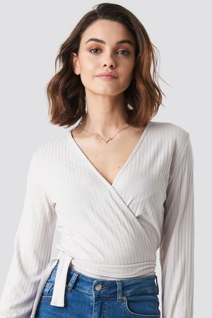 NA-KD Kvinna T-shirts & Linnen - Ribbed Wrap Tie Top - Crop Tops
