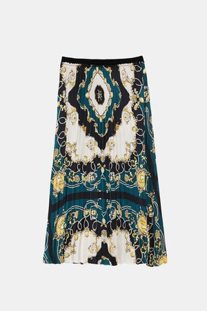 Zara PLEATED SKIRT WITH PRINT