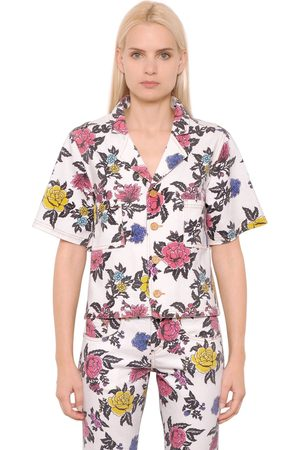 House of Holland Kvinna Jeans - Rose Printed Cotton Denim Shirt