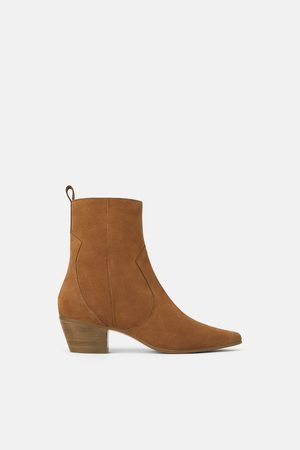 Zara Leather cowboy heel ankle boots