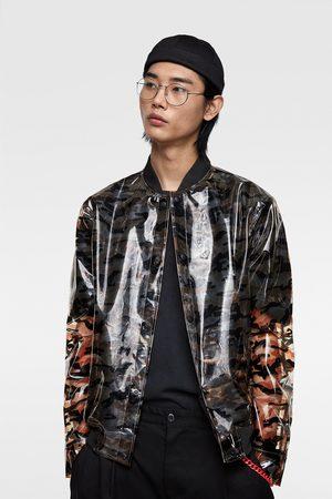 Zara Transparent bomberjacka med kamouflagemönster