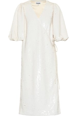 Ganni Sequined wrap midi dress