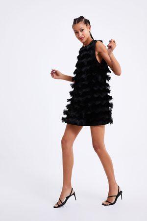 Zara Stickad klänning med fransar