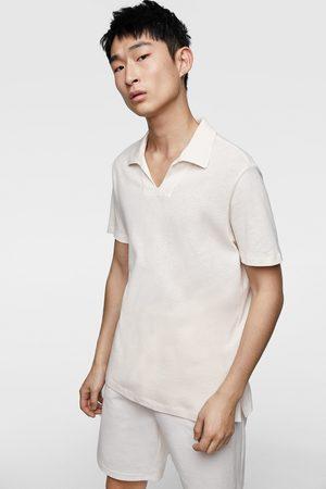 Zara Kvinna Pikétröjor - Textured rustic polo shirt