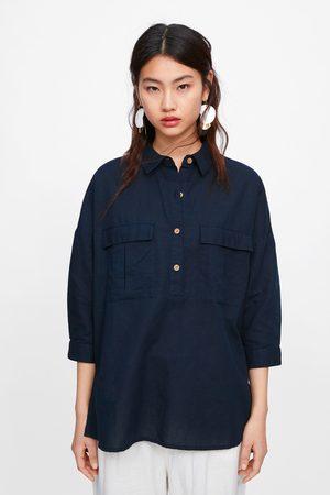 Zara Oversizeskjorta med fickor