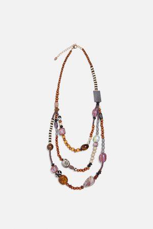 Zara Kvinna Halsband - Kombinerat halsband med tofsar och stenar