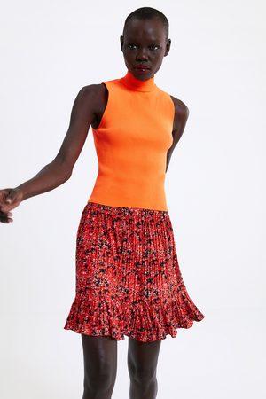 Zara Kvinna Plisserad minikjol
