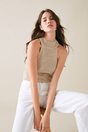 Zara Stickad topp med halterneck
