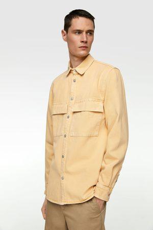 Zara Skjortjacka av denim med färg